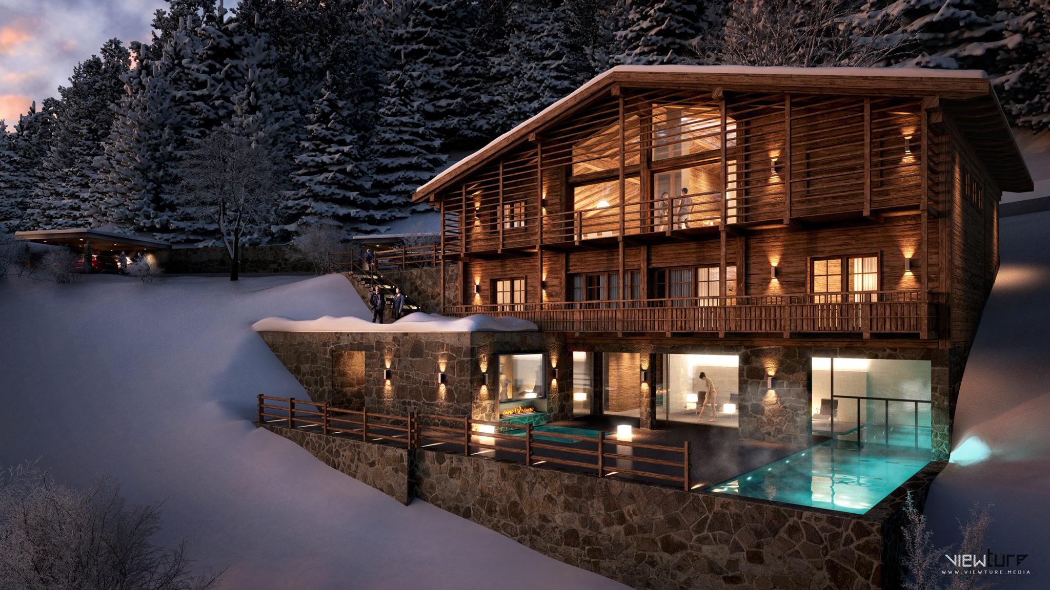 Luxus-Chalet im alpinen Stil.
