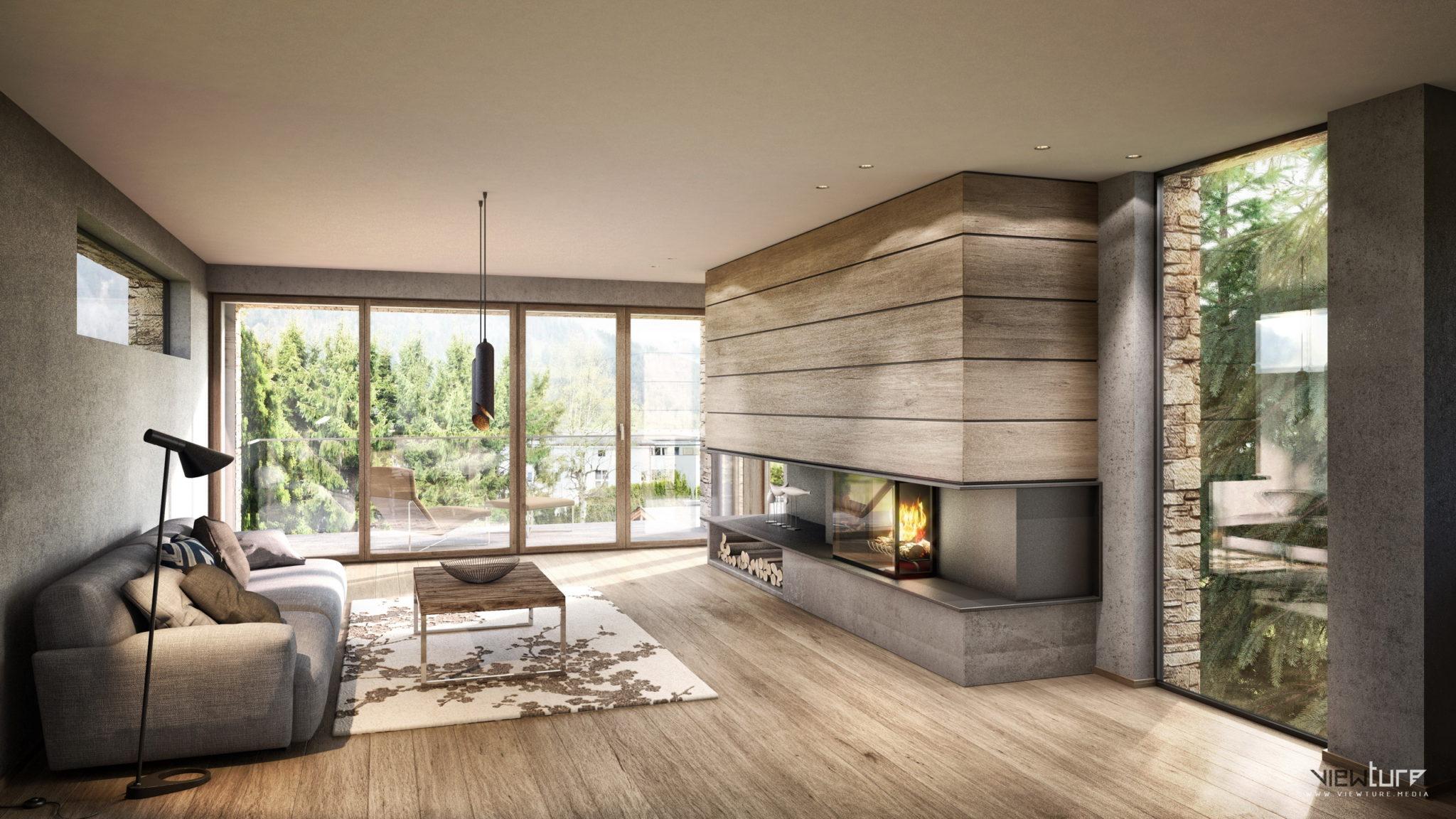 moderner Wohnraum mit Feuerstelle