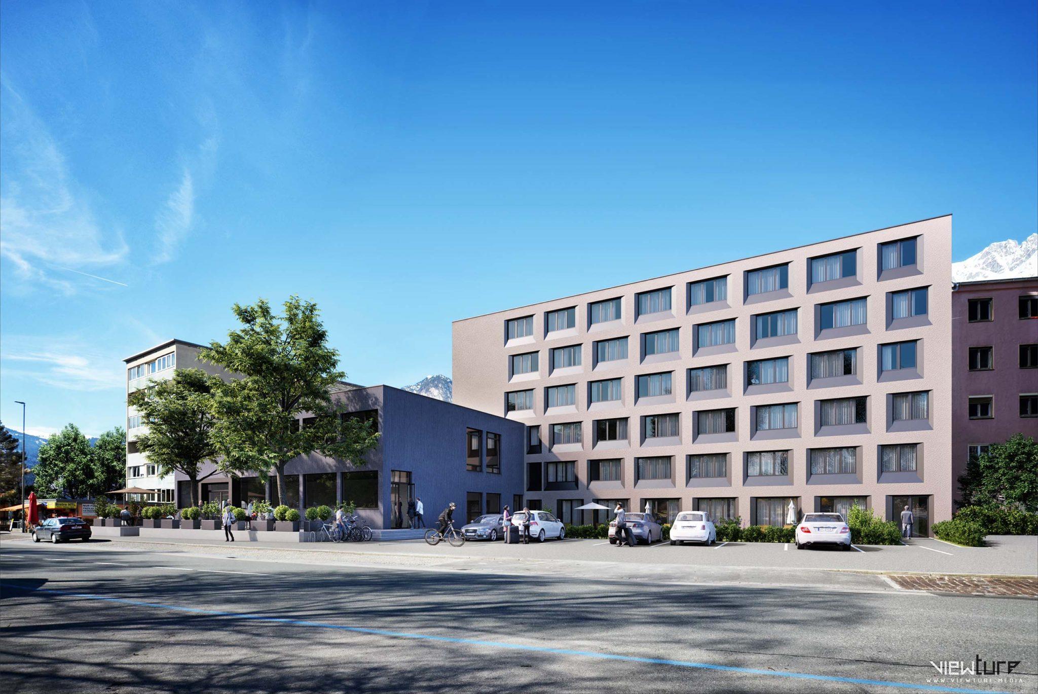 Visualisierung des umgebauten Technikerhauses in Innsbruck