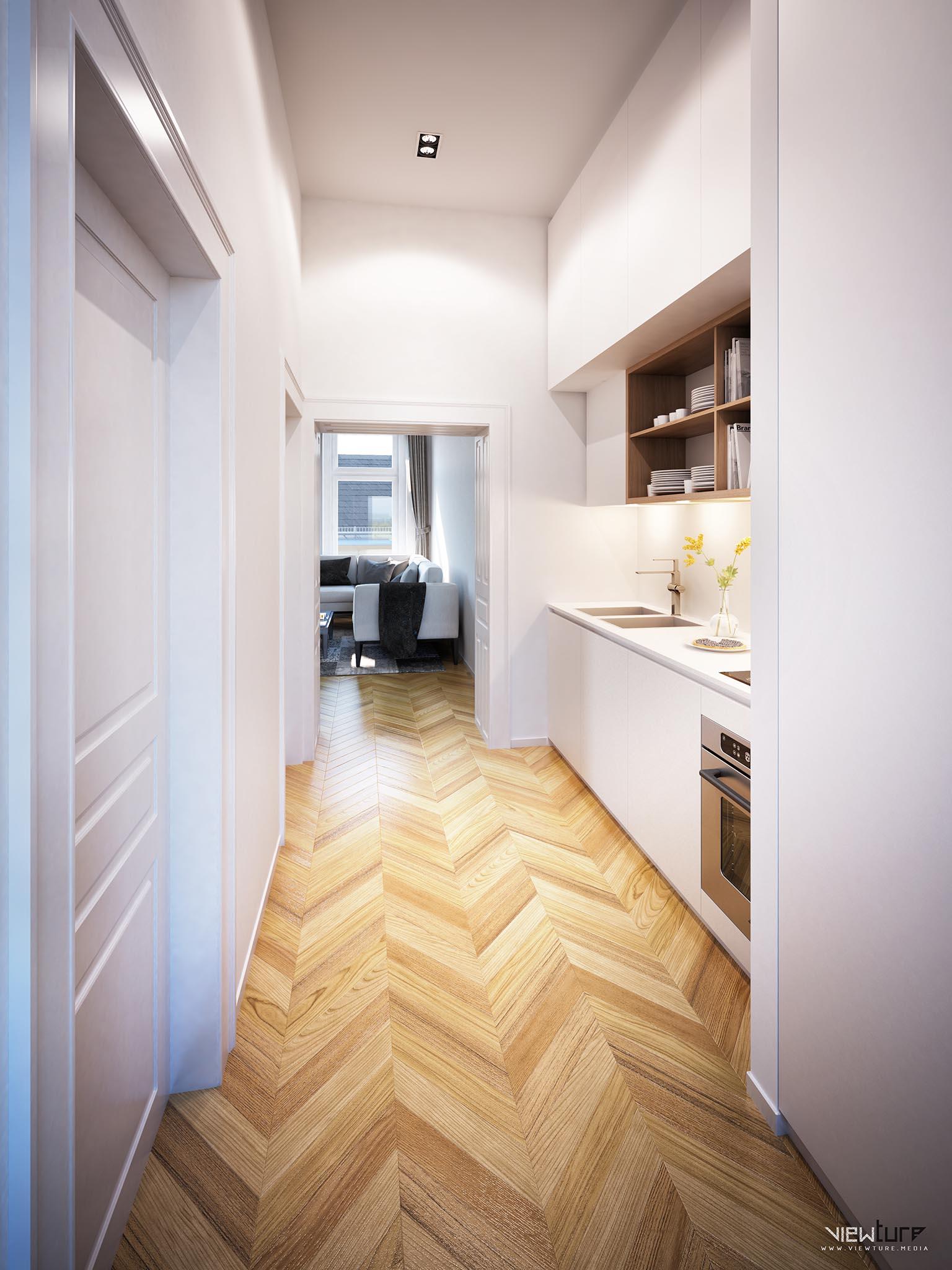 Stilvolle und platzsparende Kochnische in einer klassischen wiener Altbauwohnung