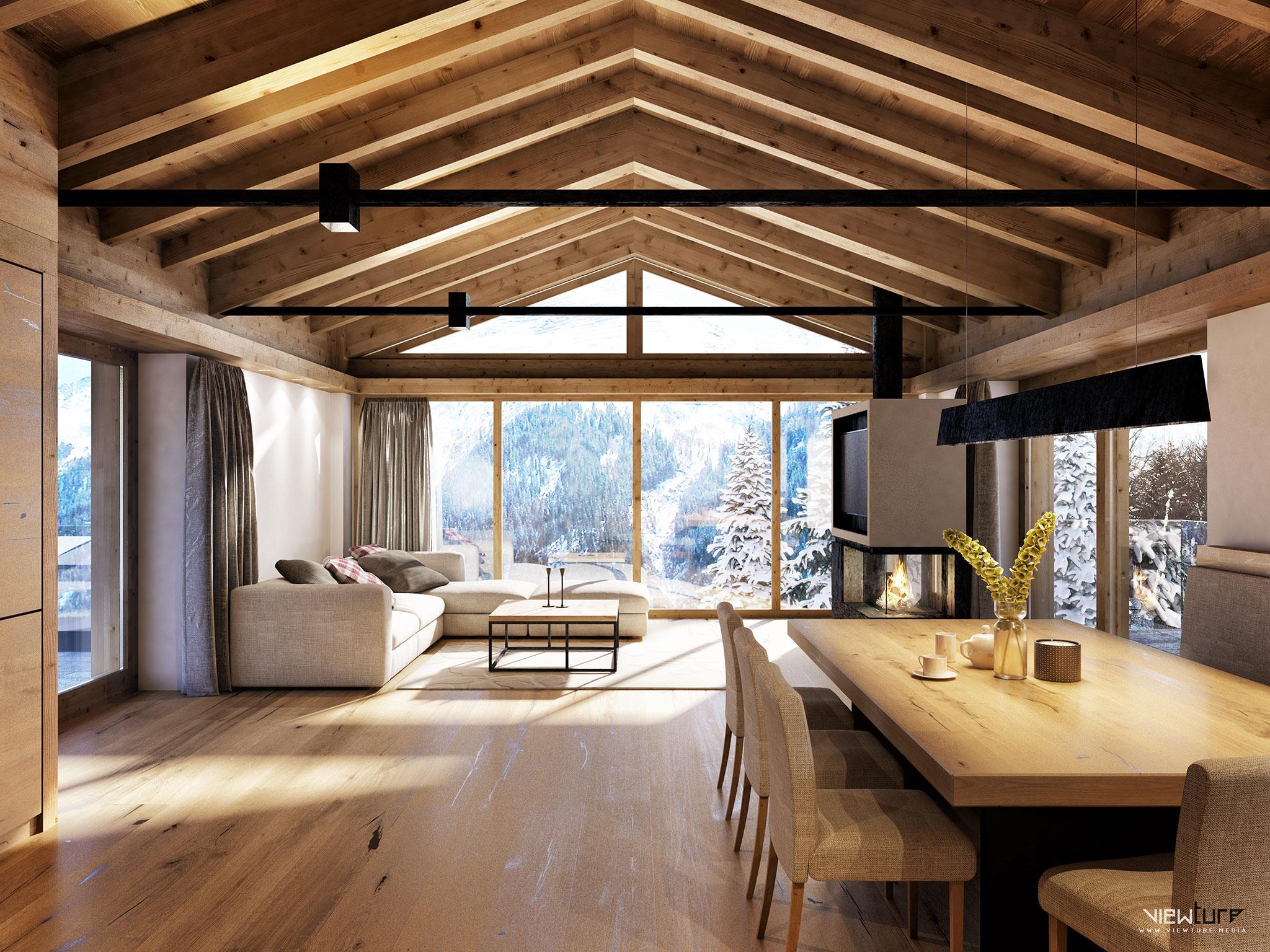 Visualisierung des Wohnraumes in der Villa Villekulla in St. Anton