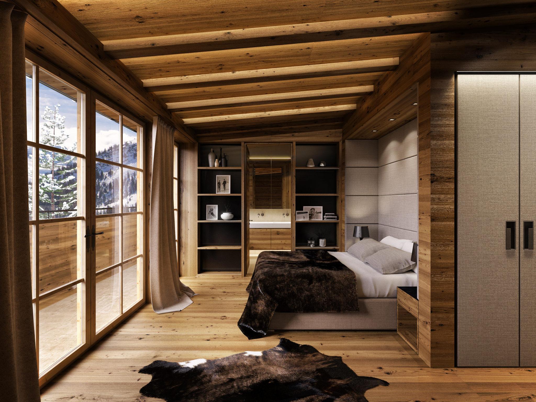 Visualisierung eines gemütlichen Hotelzimmers für angenehmes Ausspannen nach dem Skitag.